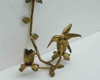 Vintage Brass Hummingbird Candle Holder Hummer Bird Candelabra Hollywood Regency Glam Foyer Focal Decor Candleholder Solid Brass Flower