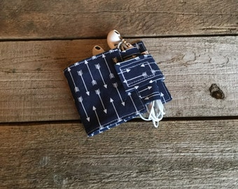 Wallet and Earbud Holder, navy and arrows