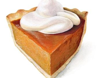 Pumpkin Pie Art // Food Illustration // Art Print, rustic, farmhouse, diner