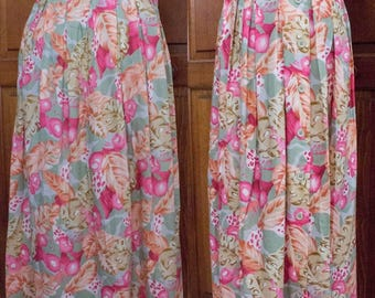 80s Lee David LTD. Floral/Leaf Pleated Maxi Skirt- Size 13/14