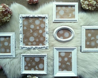 Vintage Photo Frames Shabby Chic Ornate Frames Wall Frame Collage Instant Photo Gallery, White Distressed, Collage Fancy Cottage Shic