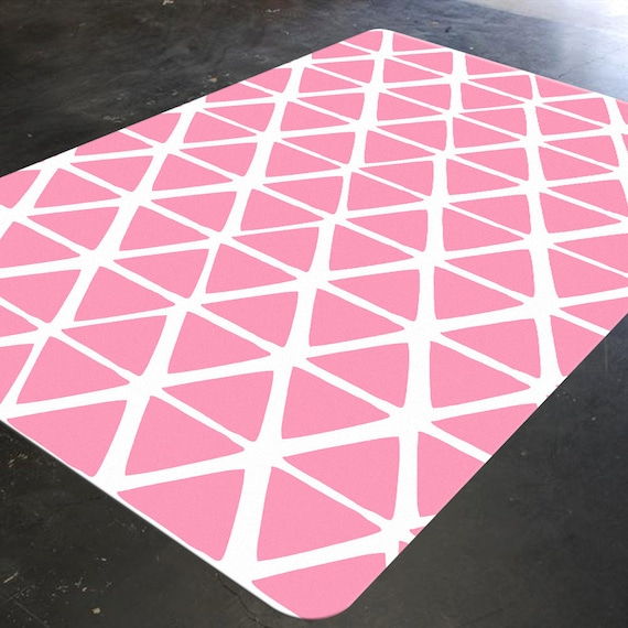 Pink Geometric Nursery Floor Rug Kids Floor Rugs Light