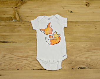 Fox and Cub Onesie- Baby Fox- Baby Fox Onesie- Baby Fox Body Suit- Baby Onesie- Baby Clothing