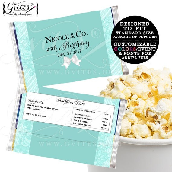 Microwave Popcorn Wrapper PRINTABLE, birthday and co, popcorn cover breakfast at white bow party favors. Digital {6.63 x 9.86 1-Per/Sheet}