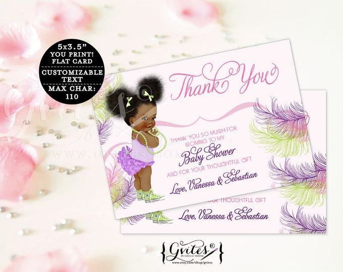 """Thank you baby shower cards, pink purple and green African American note cards, baby thank you flat customizable text. {5x3.5"""" 4 Per/Sheet}"""
