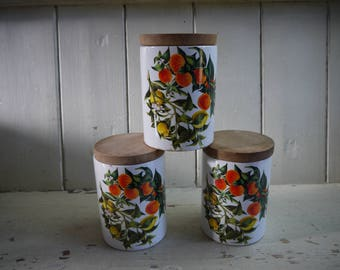 Trio of Vintage Portmeirion Canisters - Oranges & Lemons