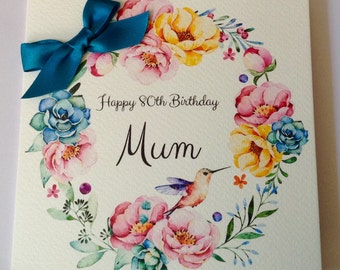 Personalised Watercolour  Mum, Nan, Grandaughter , Daughter, 30th 40th 50th 60th 70th 80th 90th 100th