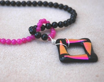 Dichroic Glass Pendant with Black Onyx and Hot Pink Jade Necklace