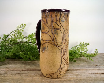 Fairy Oak Tree Mug 18 oz - Purple - Wheel Thrown and Hand Sculpted Coffee Cup