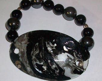 Black and Silver Beaded Bracelet with Painted Shell