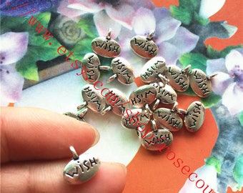 Both sided--Wholsale 100pcs 10x6mm antiqued silver wish charms findings