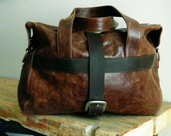 Handcrafted  Rustic Brown Overnight Bag