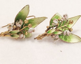 "Vintage Floral Green,  Pink & Gold Tone Floral Earrings Pierced  Rare 1.5"" Each"