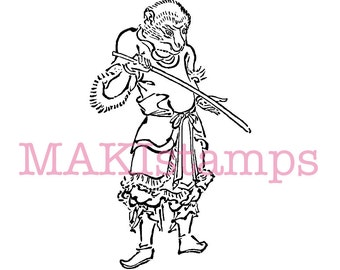 Rubber stamp astrology / monkey as a samurai / asian rubber stamp - unmounted or cling stamp option (170306)