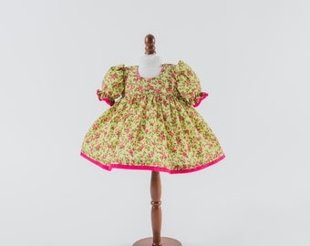 """Cerise Trimmed Green Floral Puff Sleeve Dress for 40 cm (15"""") Rag Doll, Outfit for Cloth Doll, Fabric Doll, Textile Doll"""