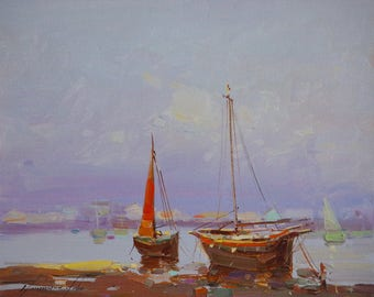 Seashore, Oil painting, Impressionism, handmade art, One of a kind