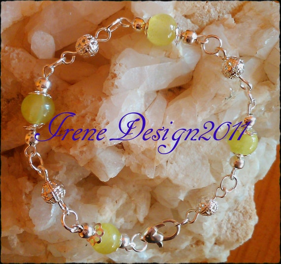 Handmade Silver Jewelry Set with Green Jade by IreneDesign2011