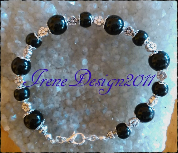 Black Onyx & Flowers Bracelet by IreneDesign2011