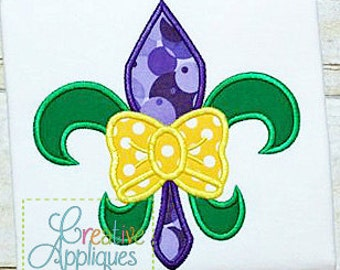 Personalized Mardi Gras Fleur De Lis with Bow or Bow Tie Applique Shirt or Onesie Girl or Boy