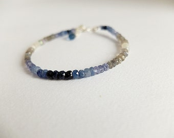 Sapphire Bracelet,Genuine Blue Sapphire,Ombre shaded sapphire,Ombre,Blue Ombre Bracelet,labradorite,London blue topaz minimal bracelet