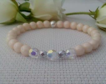 Bracelet for her-Crystal Swarovski bead & Czech glass cream bead stretch bracelet-April birthstone bracelet-wedding bracelet-birthday gift