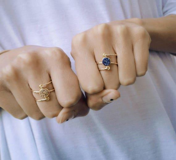 Druzy Ring, Spring Ring, Gold Dainty Rings, Boho Ring