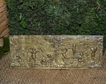 Antique Small French Relief Plaque Brass Cherubs in Playful Setting