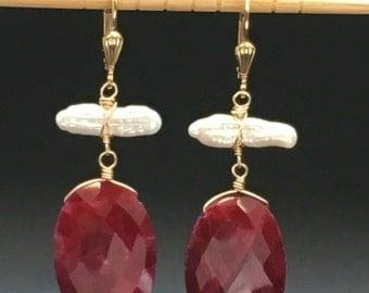 Stick Pearl Earrings, Ruby Earrings, Gold Earrings, Statement Earrings, Gemstone Earrings, Earrings under 200, Angel Wear Design