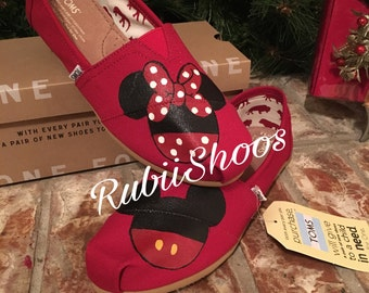 Women's Toms- Mickey And Minnie- Painted Toms- Red Toms- Mickey Head- Minnie Head- Customs Shoes- Disney Shoes- Disney Toms