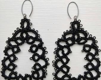 Dangle loop black earrings - Lightweight Earrings -  Vintage Tatted Lace Earrings