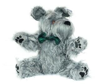 Stuffed Dog - Plush Dog- Irish Wolfhound -Grey Dog - Stuffed Animal Dog - Schnauzer - Gray dog - cute dog
