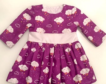 Girls  Dress, Girls Fall Dress, Girls Long Sleeve Dress,  Rainy day Dress- Rainbows -Girls Autumn Dress - Birthday Outfit- Gift for Daughter