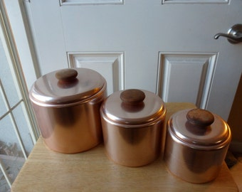 Vintage Set Of 3 Rose Aluminum Mirro Canister Set With Wooden Handles   Retro  Kitchen Food