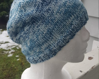 Knit woman's beanie, knit with anti-pilling  yarn, winter hat, beanie (turquoise tones)