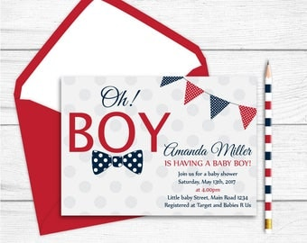 Printable Navy Blue Red Grey Baby Shower Invitation, Navy Blue Red Polkadots Bow Tie Baby shower Invitation,Oh Boy Baby Shower Invitation