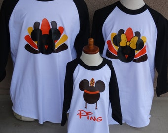 Free Shipping for US  Mickey and Minnie Turkey Indian Thanksgiving family of 4 Baseball  Couples T-Shirts