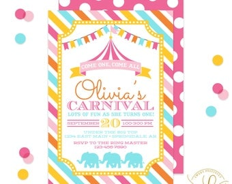 Carnival Invitation | Circus Invitation | Carnival  Party | Circus Party | Birthday Party | Printable Invitation