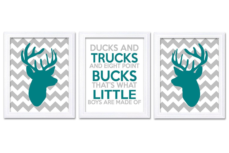 Deer Nursery Art Deer Head Prints Set of 3 Ducks Trucks Bucks Little Boys Are Made of Green Teal Gre