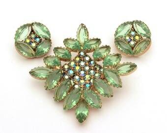 Light Green Rhinestone Pin Earrings Set, Marquis Rhinestones, Vintage Earrings Clip On, Diamond Shape Brooch, Aurora Borealis AB Rhinestones