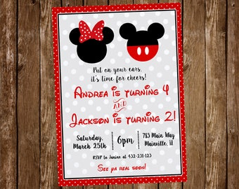 Mickey Mouse, Minnie Mouse, Twins, Siblings, Cousins, Brother, Sister, Birthday Party Invitation, Mickey & Minnie - Digital or Printed