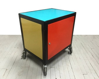 Vintage Colorful Metal Rolling Cart
