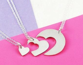 Collier de fille mère, fête des mères cadeau du jour, Simple collier, bijoux coeur, Collier coeur en argent, pendentif en argent, collier pendentif coeur