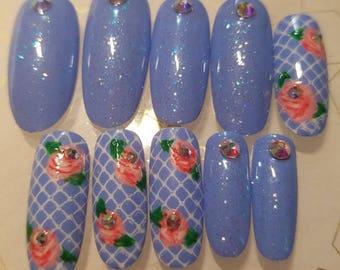 Press on Nails Kawaii Hime Gyaru Japanese Light Blue Rose Hime Gyaru