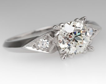 Vintage Engagement Ring - 1 Carat Old European Cut Diamond - Platinum Engagement Ring - WM11821