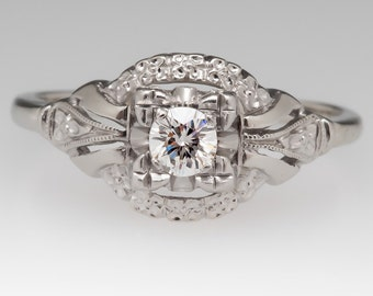 Vintage Engagement Ring - 1950's Diamond Solitaire Floral Motif - 14K White Gold With Palladium Engagement Ring - WM11927