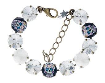 Swarovski Crystal Bracelet - Skulls and Candy