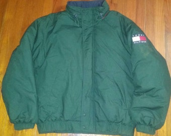 Tommy Hilfiger Sailing Gear Down Puffer Bubble Coat Hunter Green Hood Parka Size L