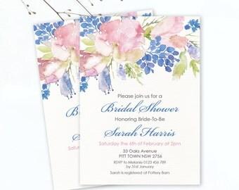Bridal Shower Invitation - Floral Invitation - Personalised Invitation - Printable Invitation - Digital  - Custom - Blue and pink invite