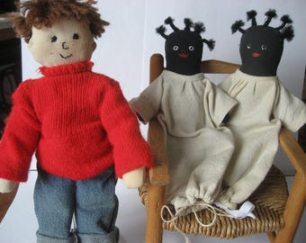 Vintage handmade cloth dolls (3) PLUS wooden doll chair (4 items total)