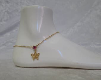 Goldplated butterfly anklet with pink crystal  CCS72